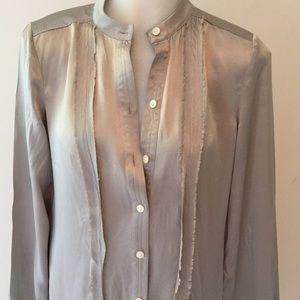 Banana Republic Dress Gray Silk Button Up SZ 0